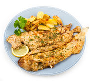 Fresh sole served with potatoes Royalty Free Stock Photography