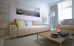 Fresh solution for the living room - white interior Royalty Free Stock Image