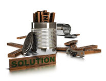 Fresh solutions. Word solution written onto a wooden piece with two opened tins and a can opener over a white background Royalty Free Stock Images