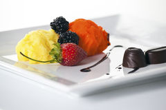 Fresh sorbet. Elegant dessert plate with sorbet,fruit and chocolate Royalty Free Stock Photos