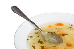 Fresh soup. In plate, spoon in soup Stock Photos