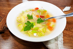Fresh soup. Vegetable soup with patatoes and carrots in white bowl Stock Images