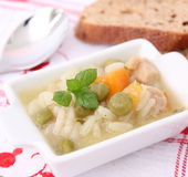 Fresh soup with chicken and rice Stock Image