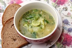Soup of cucumber. A fresh soup of cucumber with herbs royalty free stock image