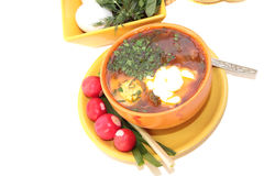 Fresh soup with egg and tomatoes. Fresh tasty soup in bright ceramic ware Stock Images