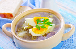 Fresh soup. Green soup with boiled eggs stock photography