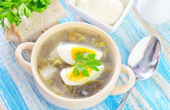 Fresh soup. Green soup with boiled eggs royalty free stock image