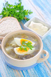 Fresh soup. Green soup with boiled eggs stock image