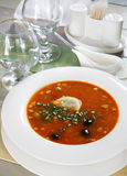 Fresh soup with herbs and olives on the served table Royalty Free Stock Photo
