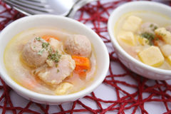 Fresh soup with meatballs Royalty Free Stock Images