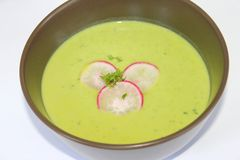 Fresh soup of peas and radish. A fresh soup of peas and radish Stock Photography
