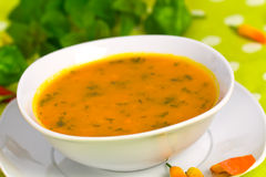 Fresh Soup of Pumpkin ,close up Royalty Free Stock Images