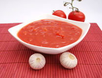 Fresh soup of tomatoes Stock Photo