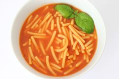 Fresh soup. A fresh tomatosoup with noodles Royalty Free Stock Photo