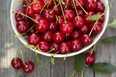 Fresh sour cherry in a bowl Stock Photo