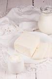 Fresh sour cream and  quark Stock Photos