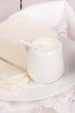 Fresh sour cream and  quark Stock Photo