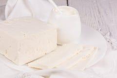 Fresh sour cream and  quark Royalty Free Stock Photo