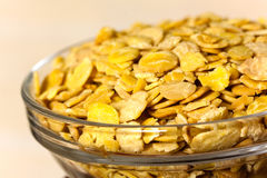 Fresh soy flakes in the bowl Royalty Free Stock Photos