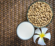 Fresh Soy milk and soybean seeds Stock Image