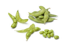 Fresh soybeans and pods Royalty Free Stock Images