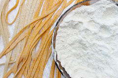 Fresh spaggeti just been produced. Fresh spaggeti with flour just been produced Royalty Free Stock Image