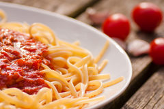 Spaghetti bolognese. Fresh spaghetti bolognese with tomatoes Royalty Free Stock Image