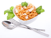 Fresh spaghetti in a bowl Royalty Free Stock Photo