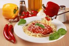 Fresh spaghetti meal Royalty Free Stock Photography