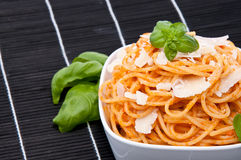 Fresh spaghetti with pesto rosso sauce Stock Photography