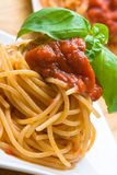 Fresh spaghetti with tomato sauce Royalty Free Stock Photo
