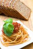 Fresh spaghetti with tomato sauce Royalty Free Stock Images