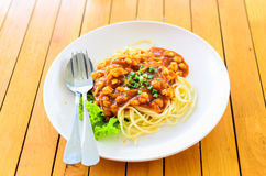 Fresh spaghetti with tomato sauce close up Stock Images