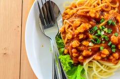 Fresh spaghetti with tomato sauce close up Stock Photo
