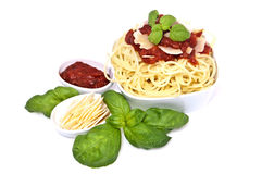 Fresh spaghetti with tomato sauce and parmesan Stock Photography