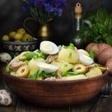 Fresh Spanish potato salad with tuna, still life Stock Photo