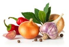 Fresh spice with garlic bay leaf Royalty Free Stock Photos