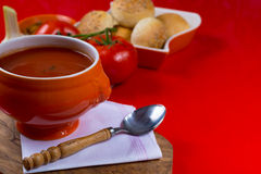 Fresh spiced tomato soup with garlic, pepper and bread Royalty Free Stock Photos