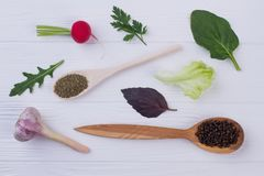 Fresh spices and herbs on wooden background. Dry spices in wooden spoons. Vegeterian ingredients for healthy eating Royalty Free Stock Images