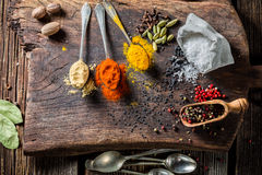Fresh spices on spoon and herbs Royalty Free Stock Image
