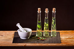 Fresh spices in vegetable oil stock photo