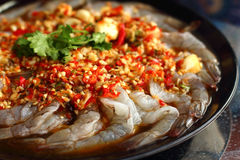 Fresh spicy  lime shrimp - asia food Stock Photography