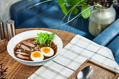 Fresh spicy soup with duck, egg, mushrooms and noodle. Traditional vietnamese noodle soup in bowl. Asian/vietnamese cuisine. Copy. Space for design. Served royalty free stock photos