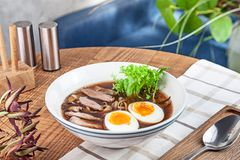 Fresh spicy soup with duck, egg, mushrooms and noodle. Traditional vietnamese noodle soup in bowl. Asian/vietnamese cuisine. Copy. Space for design. Served royalty free stock image