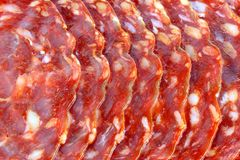 Fresh spicy Spanish chorizo (sausage) - Salami / Stock Images