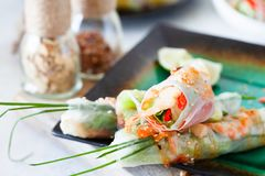 Fresh spicy vietnamese salad rolls with shrimp on a white plate Royalty Free Stock Photography