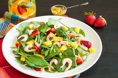 Fresh spinach fruit salad. Stock Photography