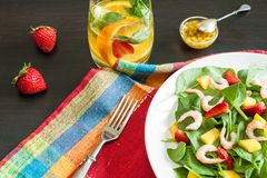 Fresh spinach fruit salad. Royalty Free Stock Photography