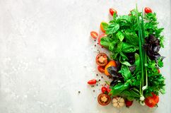 Fresh spinach,green onion, basil, herbs, dill and tomatoes on gray concrete background, selective focus. Top view. Toned. Effect. Food cooking ingredients Stock Image