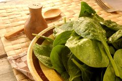 Fresh spinach green vegetables healthy Stock Photos
